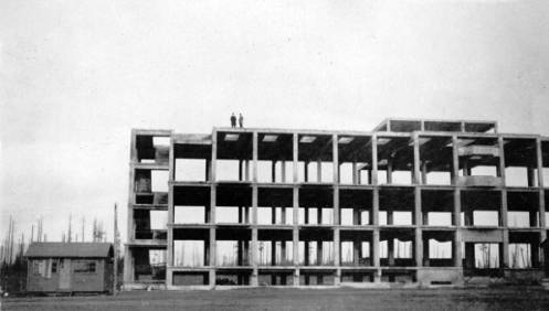 View of unfinished Science building on UBC campus, 1920. UBC Archives.