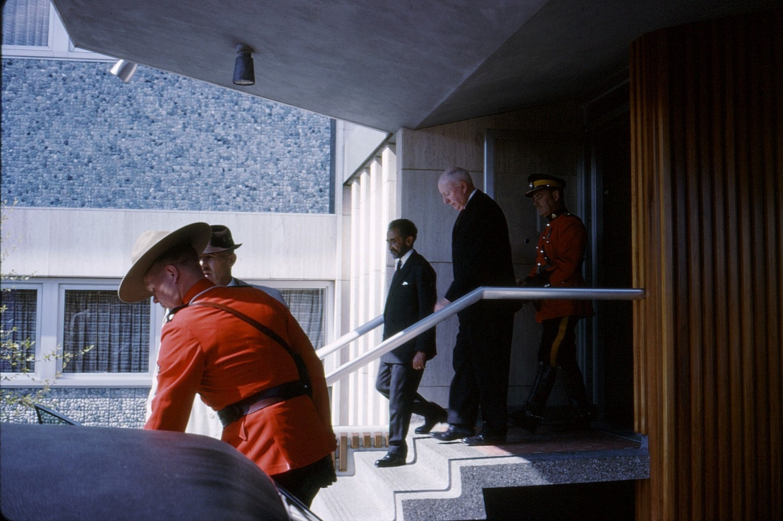 Haile Selassie can be seen with UBC President John B. Macdonald and UBC Chancellor John Buchanan. Herbert Rosengarten Photography.
