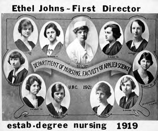 Composite photograph of Ethel Johns and first ten students enrolled in UBC Nursing degree program in 1921