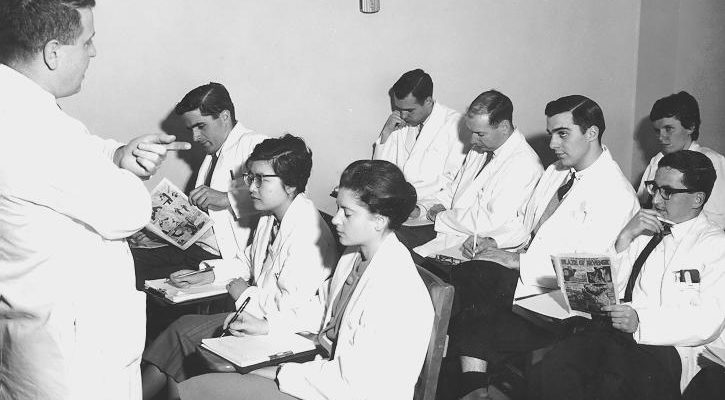 """<center>Faculty of Medicine Lecture, date unknown.<br>Photo credit: <a href=""""https://dx.doi.org/10.14288/1.0136742"""" target=""""_blank"""">UBC Archives</a></center>"""